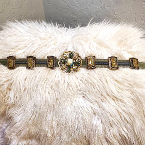 Women's Brown Leather Jeweled Western Belt